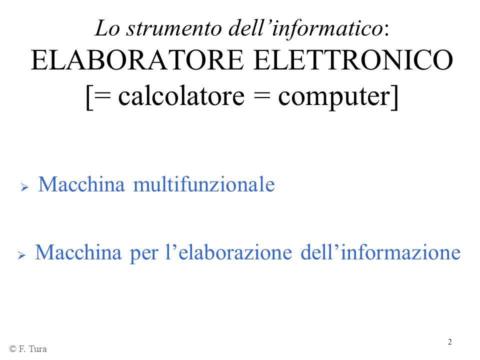 Lo strumento dell'informatico: ELABORATORE ELETTRONICO [= calcolatore = computer]